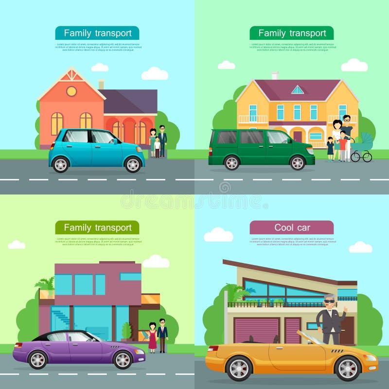 Familjtransport Samling av bilsymboler royaltyfri illustrationer