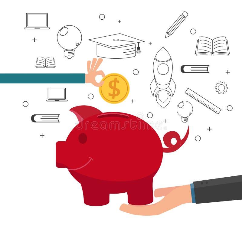 Familjundervisningbarn som sparar pengar och den finansiella planläggningen för framtid stock illustrationer