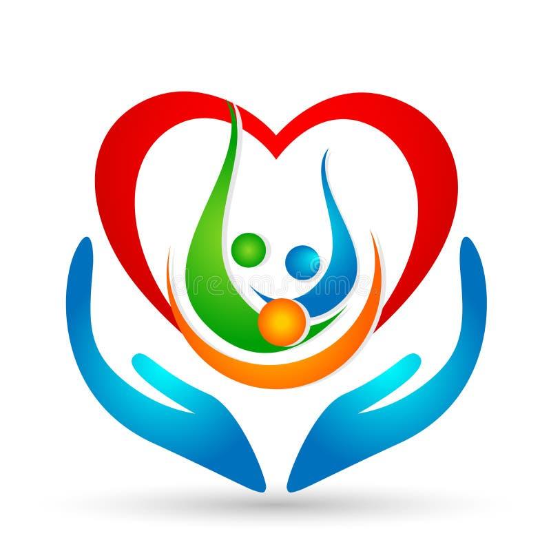 Familjunion, förälskelse och omsorg i en röd hjärta med beståndsdelen för vektor för symbol för hand- och hjärtaformlogo på vit b stock illustrationer