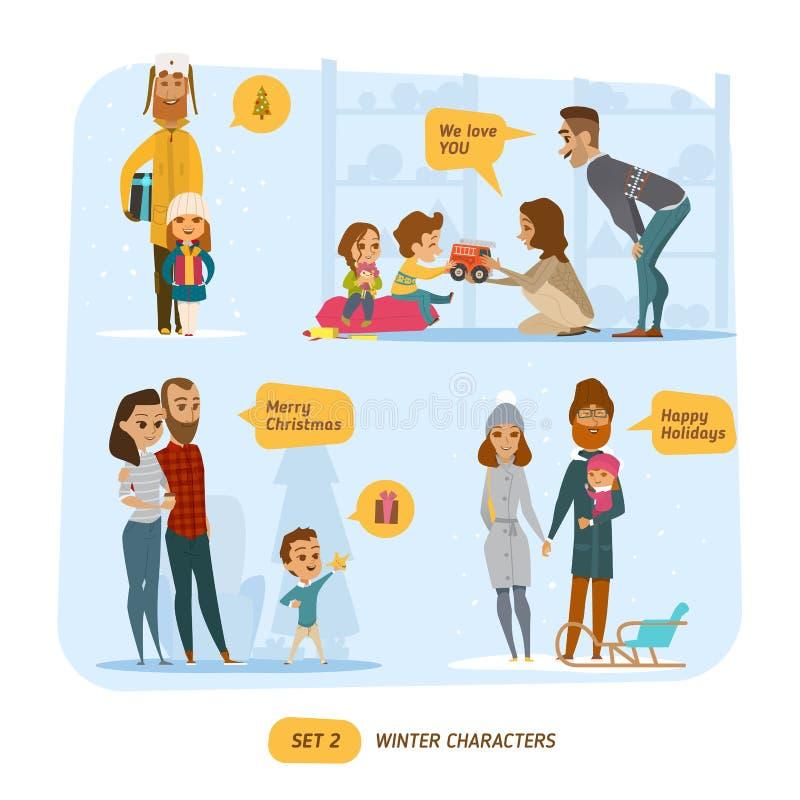 Familjuppsättning royaltyfri illustrationer