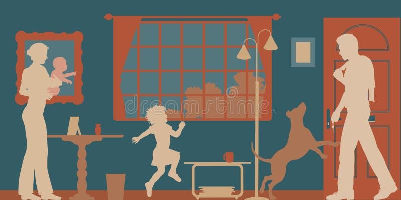 Familjvälkomnande vektor illustrationer