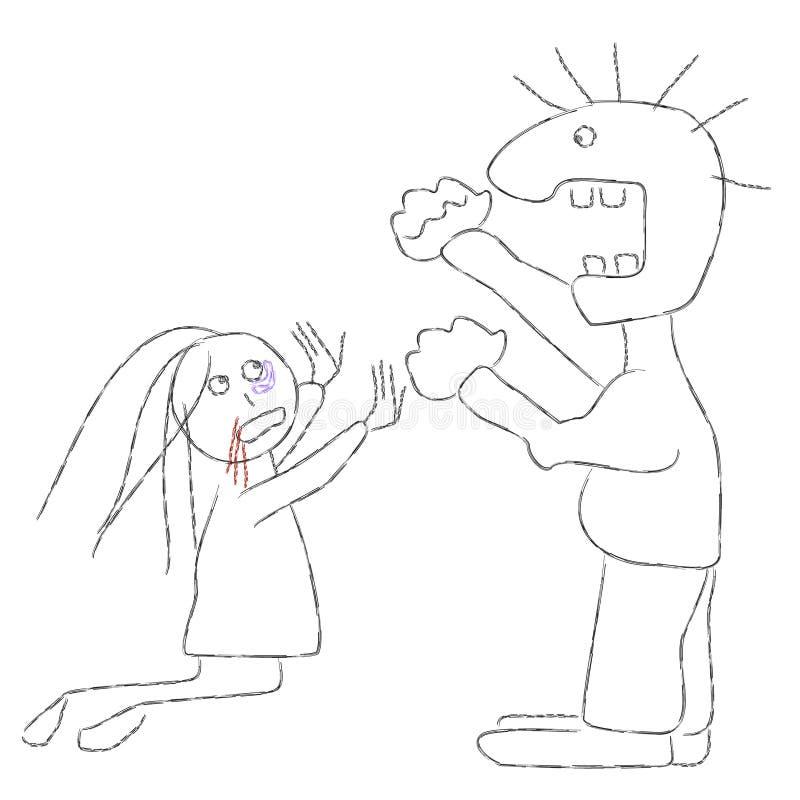 Familjvåld vektor illustrationer