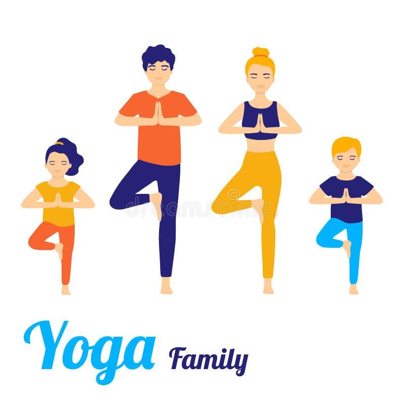 Familjyoga av folk som gör yogaövning Fadern och modern med barn som gör yoga, poserar Vektorillustration som isoleras p? vit vektor illustrationer