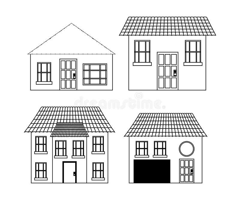 Famille à la maison Chambre avec la porte et les fenêtres Conception de silhouette illustration stock