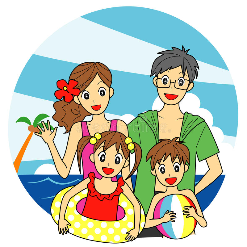 Famille à la mer illustration libre de droits