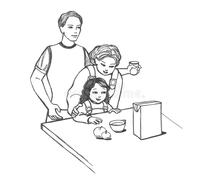 Famille à la table illustration stock