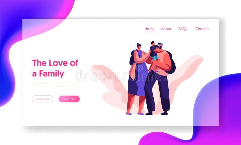 Famille affectueuse heureuse débarquant ensemble la page Caractère de parent avec le site Web ou la page Web de sac à dos Père de illustration de vecteur