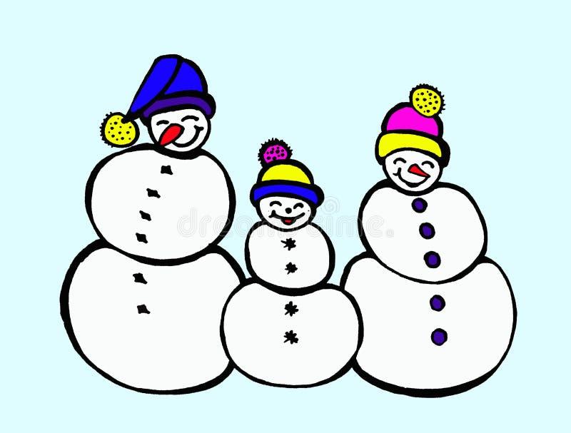 Famille animée de bonhomme de neige d'illustration handmade illustration libre de droits
