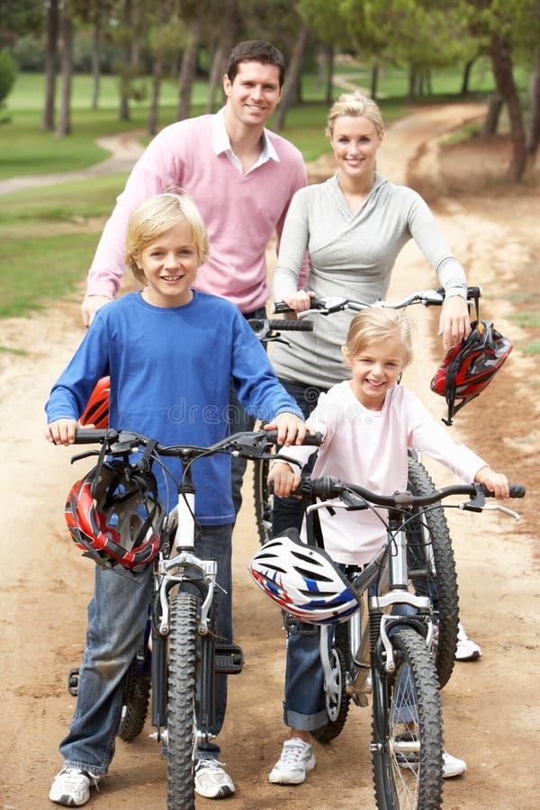 Famille appréciant la conduite de vélo en stationnement photos libres de droits