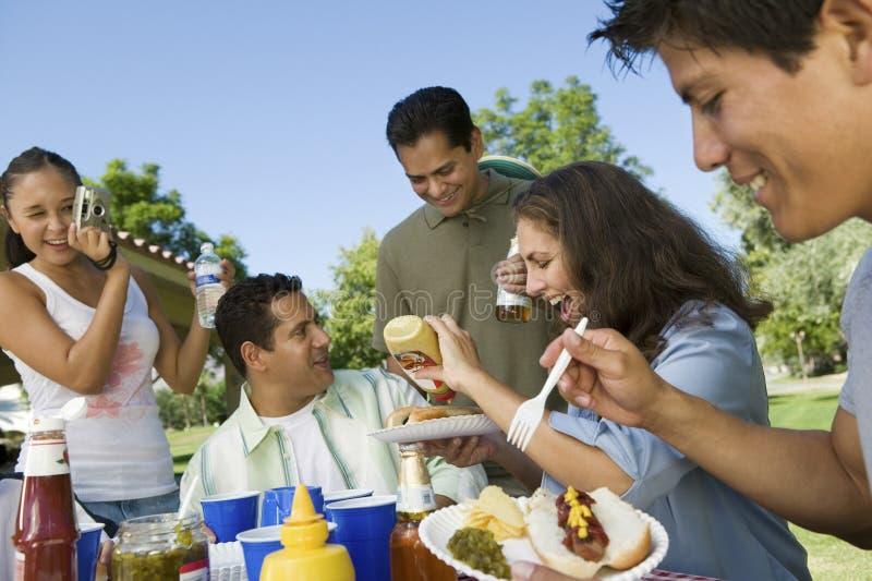 Famille appréciant la nourriture tandis que femme les photographiant au parc photos stock