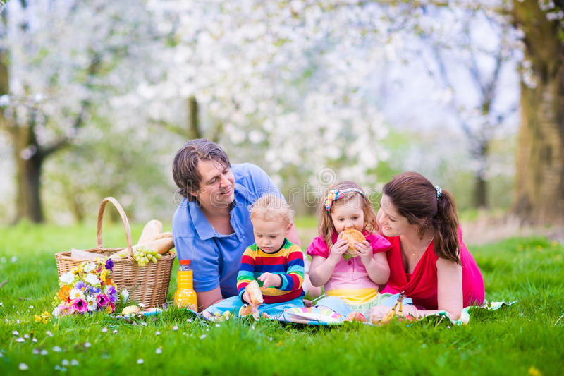 Famille appréciant le pique-nique dans le jardin de floraison image libre de droits