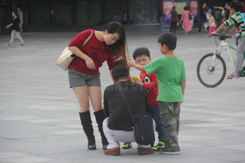 Famille asiatique avec quatre membres image libre de droits
