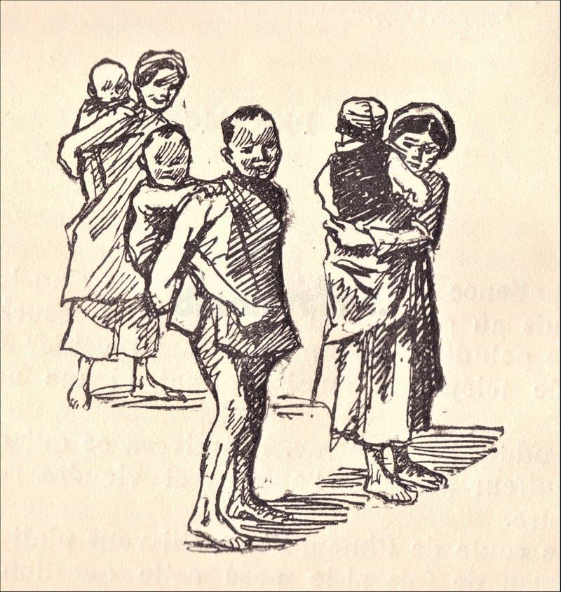 famille asiatique Vieux retrait illustration de vecteur