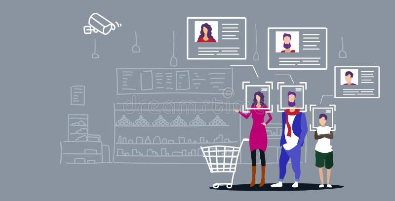 Famille avec des épiceries dans l'intérieur facial de achat d'épicerie de concept de reconnaissance d'identification de client de illustration libre de droits