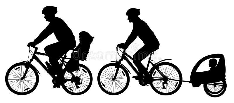 Famille avec des enfants voyageant sur des vélos Silhouette de vélo de montagne Cycliste avec une poussette d'enfant illustration stock