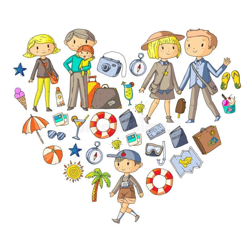 Famille avec la mère de voyage d'enfants, père, soeur, frère garçons illustration libre de droits