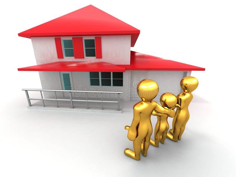 Famille avec la maison illustration stock