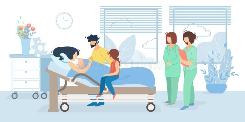 Famille avec le bébé nouveau-né dans la chambre de la maternité illustration stock