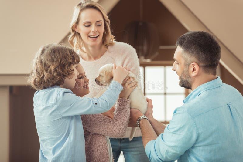famille avec le chiot adorable de Labrador devant image stock