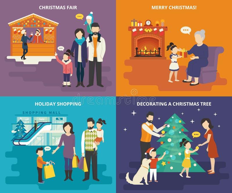 Famille avec les icônes plates de concept d'enfants réglées illustration libre de droits