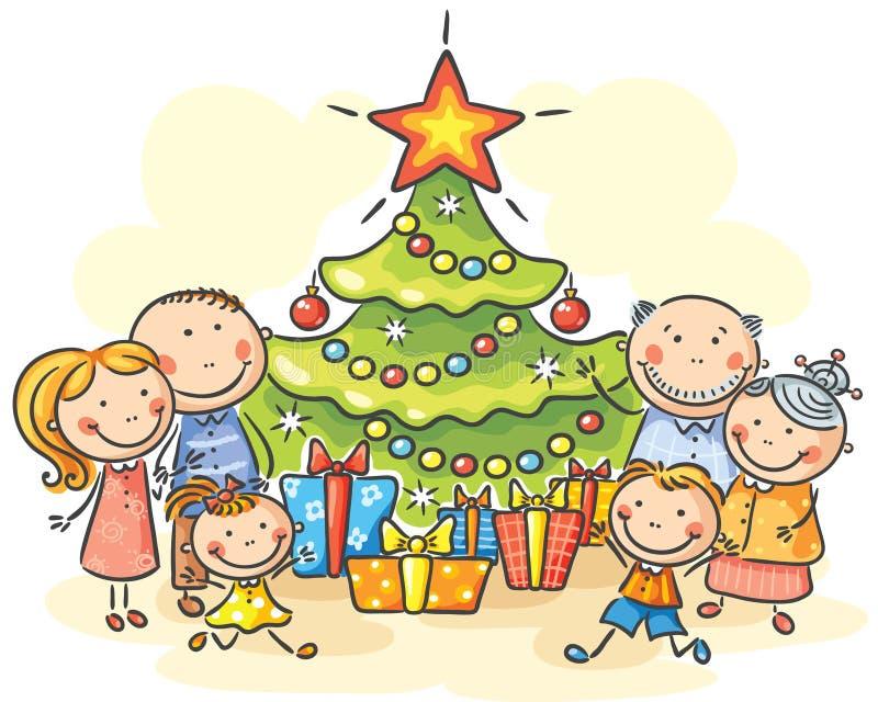 Famille avec un arbre et des présents de Noël illustration stock