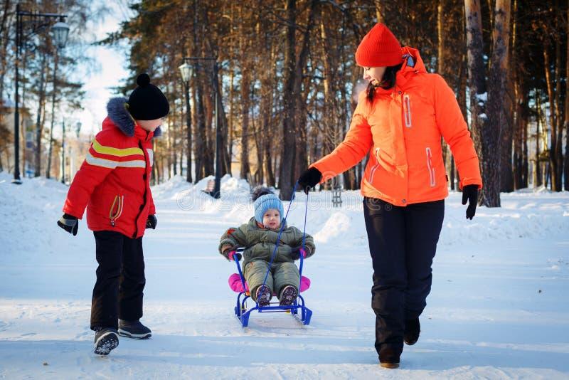 famille ayant l'amusement dans un parc d'hiver photographie stock libre de droits