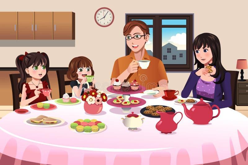 Famille ayant un thé ensemble illustration de vecteur