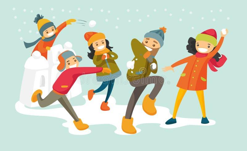 Famille blanche caucasienne jouant le combat de boule de neige illustration stock