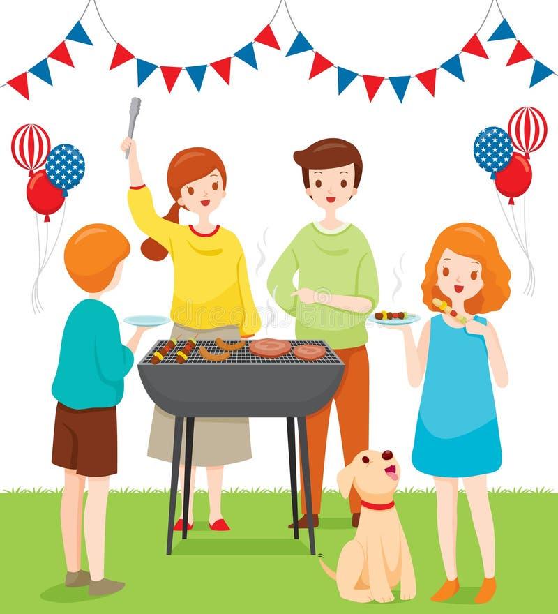 Famille célébrant ainsi que la partie de barbecue, 4ème du Jour de la Déclaration d'Indépendance de juillet illustration de vecteur