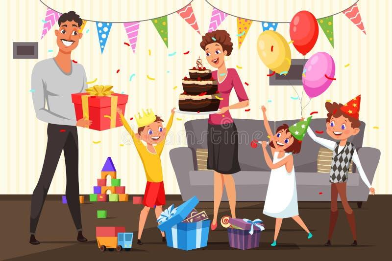 Famille célébrant l'illustration d'anniversaire à la maison illustration de vecteur