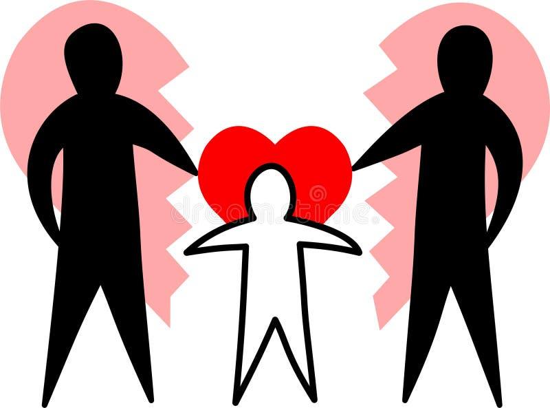 Famille cassée/parents affectueux/ENV illustration de vecteur
