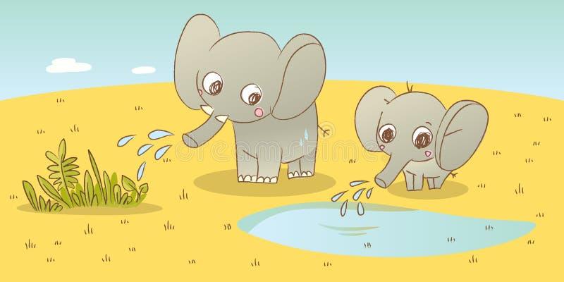 Famille d'éléphant illustration libre de droits