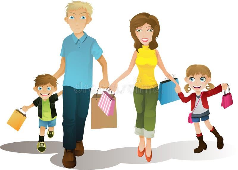 Famille d'achats illustration stock