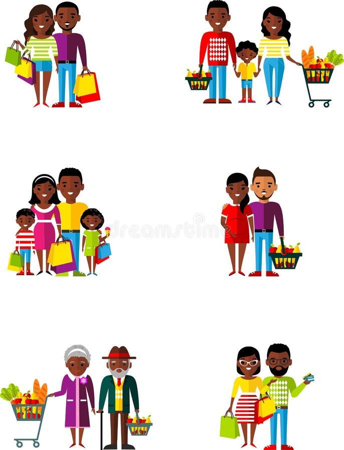 Famille d'afro-américain d'illustration de vecteur dans la boutique illustration de vecteur