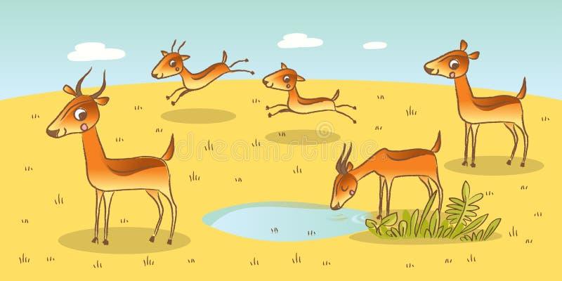 Famille d'antilope illustration de vecteur
