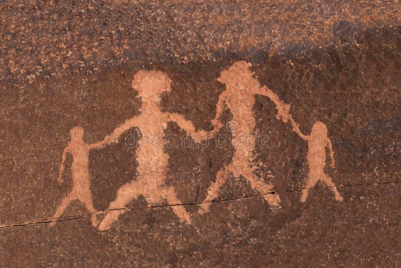 Famille d'art de roche de pétroglyphe photo libre de droits