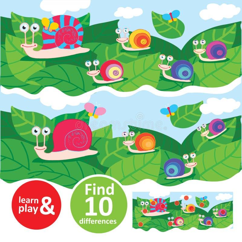 Famille d'escargot marchant sur des feuilles Apprenez et jouez la tâche pour des enfants Différences de la découverte dix Formati illustration de vecteur