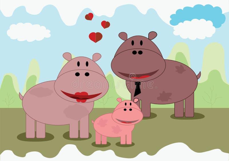 Famille d'hippopotame illustration de vecteur