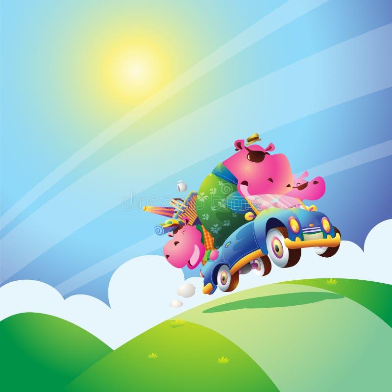 Famille d'hippopotame illustration libre de droits