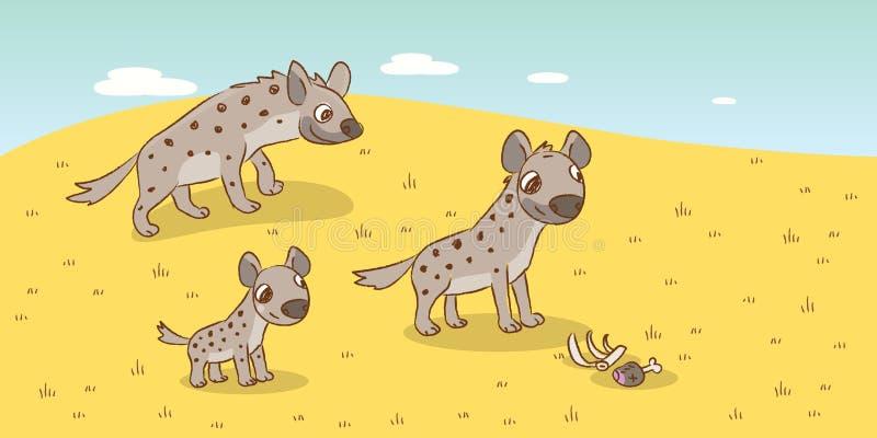 Famille d'hyène illustration libre de droits