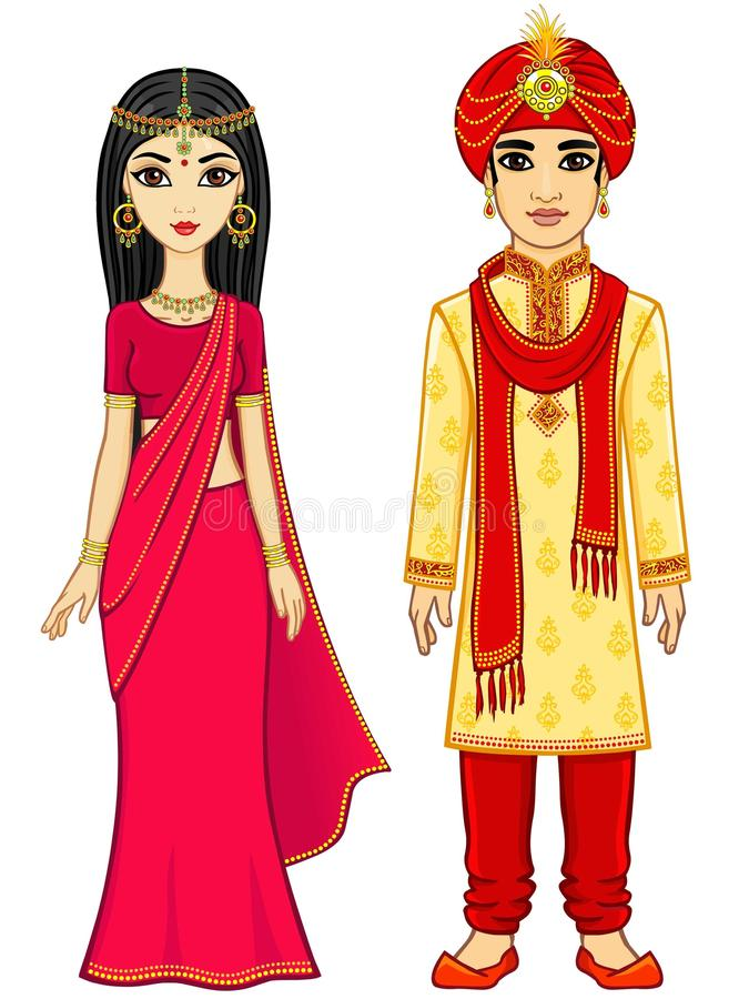Famille d'Indien d'animation illustration stock
