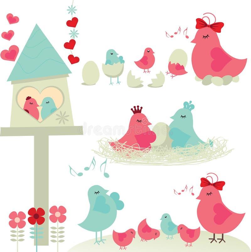 Famille d'oiseau illustration libre de droits