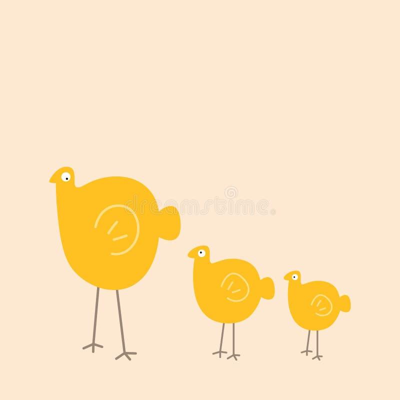 Famille d'oiseau mignonne Maman et enfants illustration de vecteur