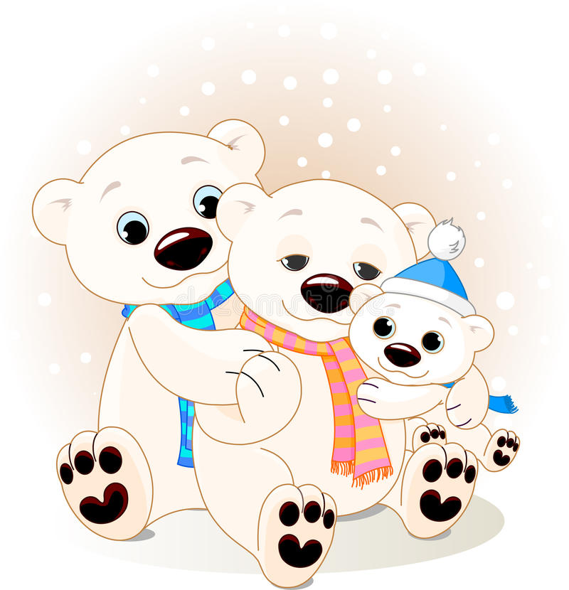 Famille d'ours blanc illustration stock