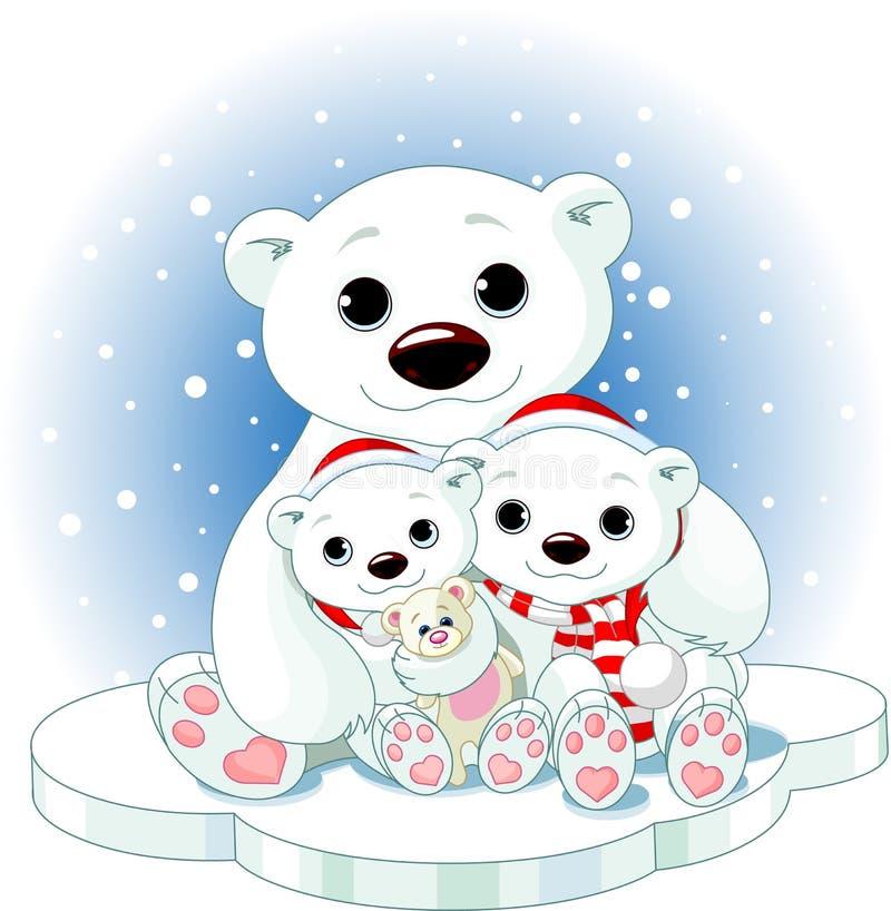 Famille d'ours blanc de Noël illustration libre de droits
