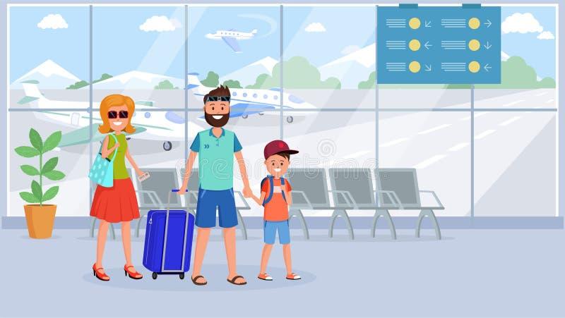 Famille dans l'illustration plate de terminal d'aéroport illustration libre de droits