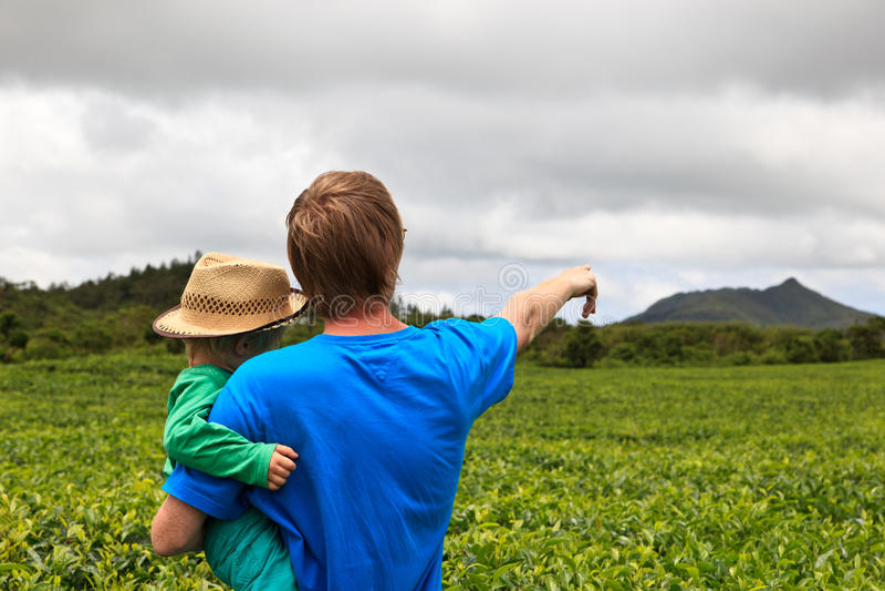 Famille dans la plantation de thé photographie stock libre de droits