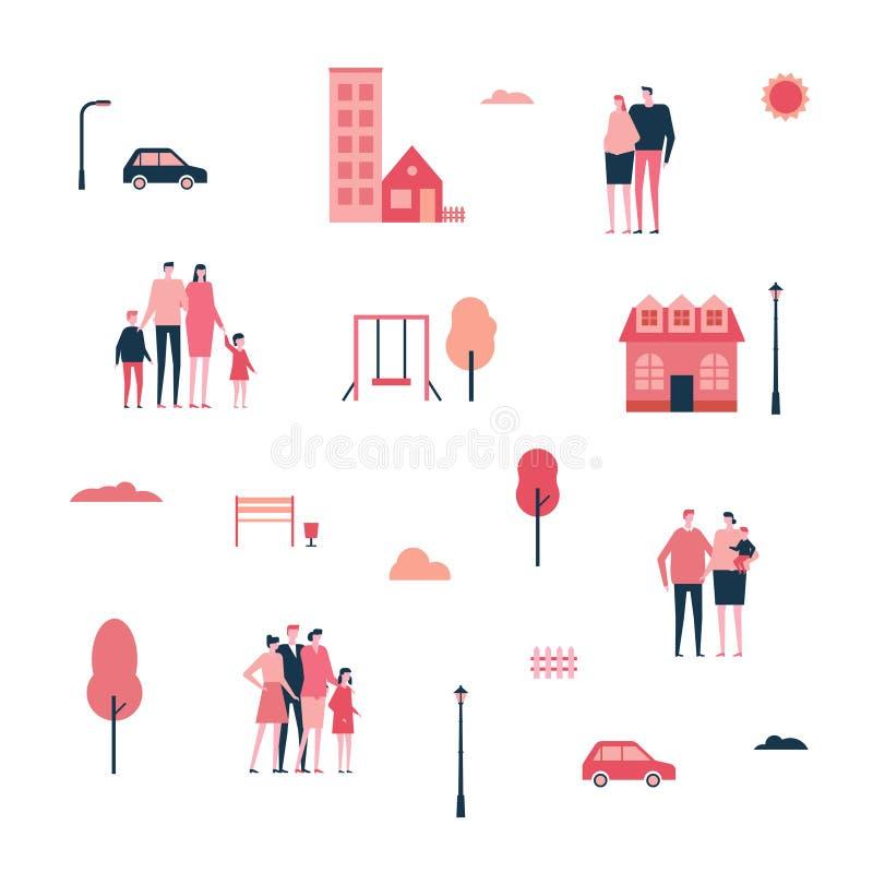 Famille dans la ville - ensemble plat de style de conception d'éléments d'isolement illustration libre de droits