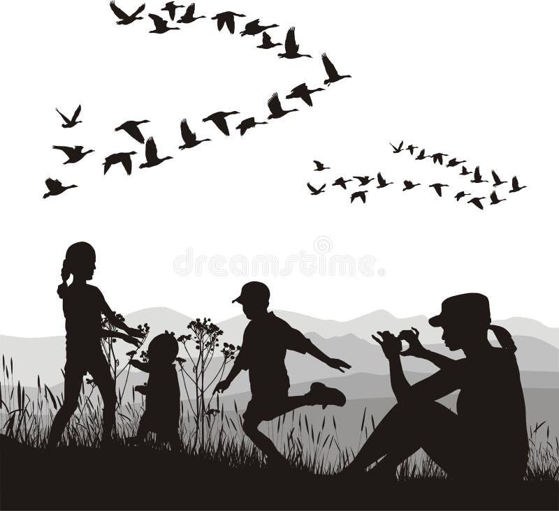 Famille dans le pays d'automne illustration de vecteur