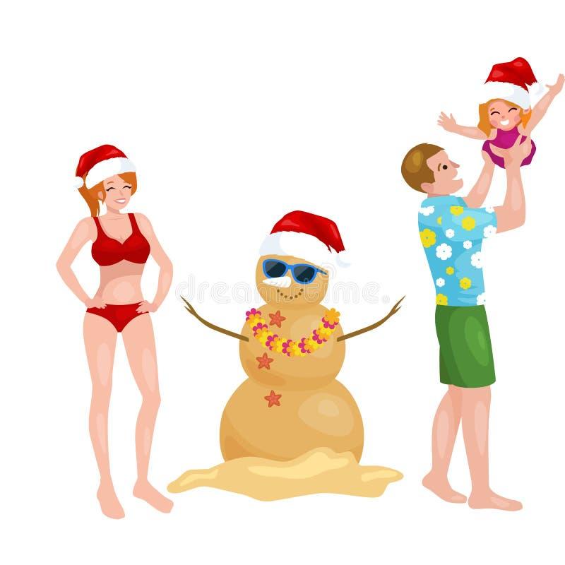 Famille de bande dessinée ayant l'amusement avec le bonhomme de neige fait de sable illustration libre de droits